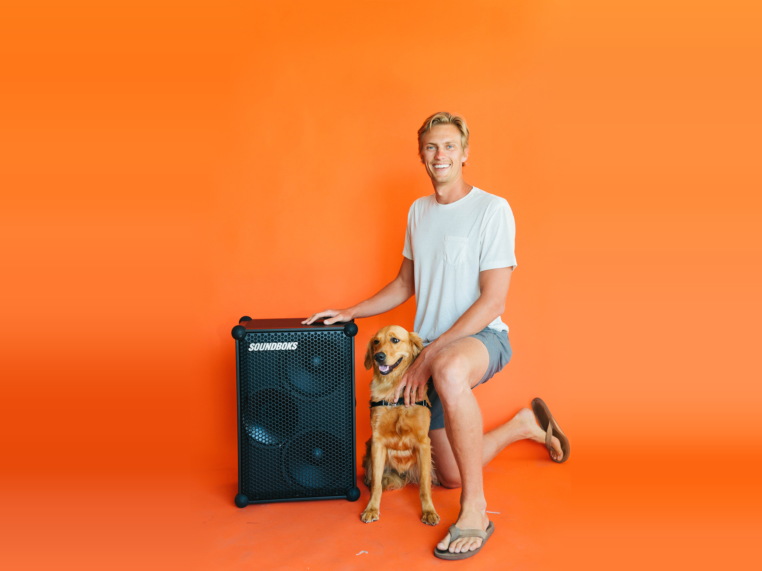 Byron with his dog and a SOUNDBOKS