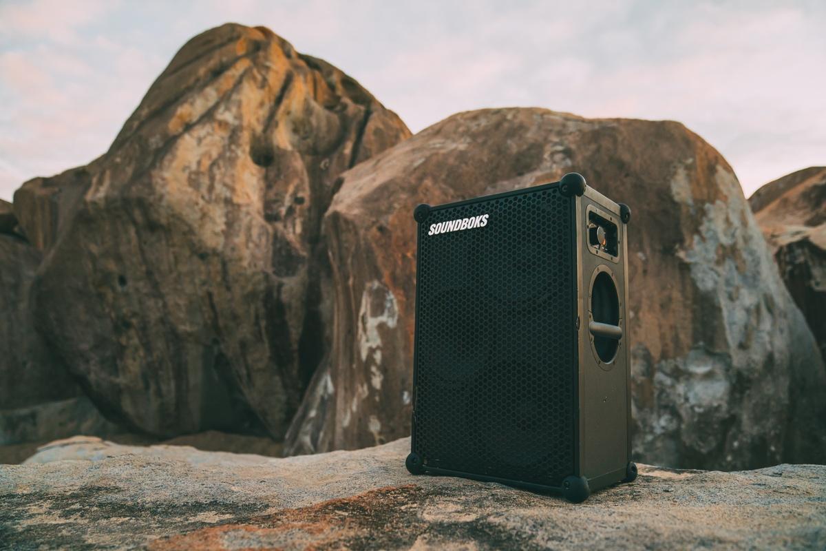 SOUNDBOKS (Gen. 3) Bluetooth Speaker in front of a mountain
