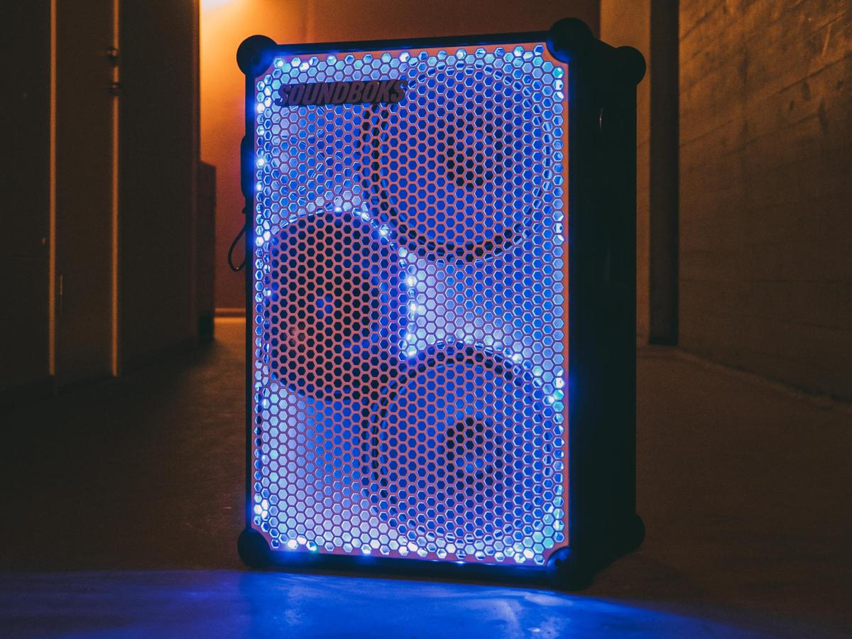 customized soundboks with blue led lights