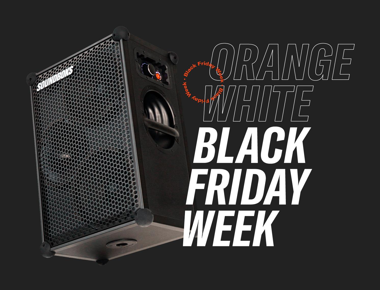 SOUNDBOKS Black Friday Ad, SOUNDBOKS with a black background