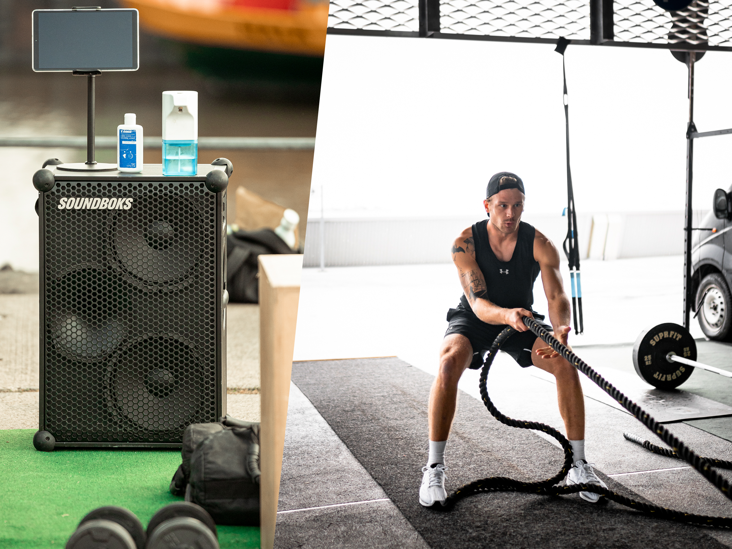 Community Member Fritz Grobien working out with the SOUNDBOKS