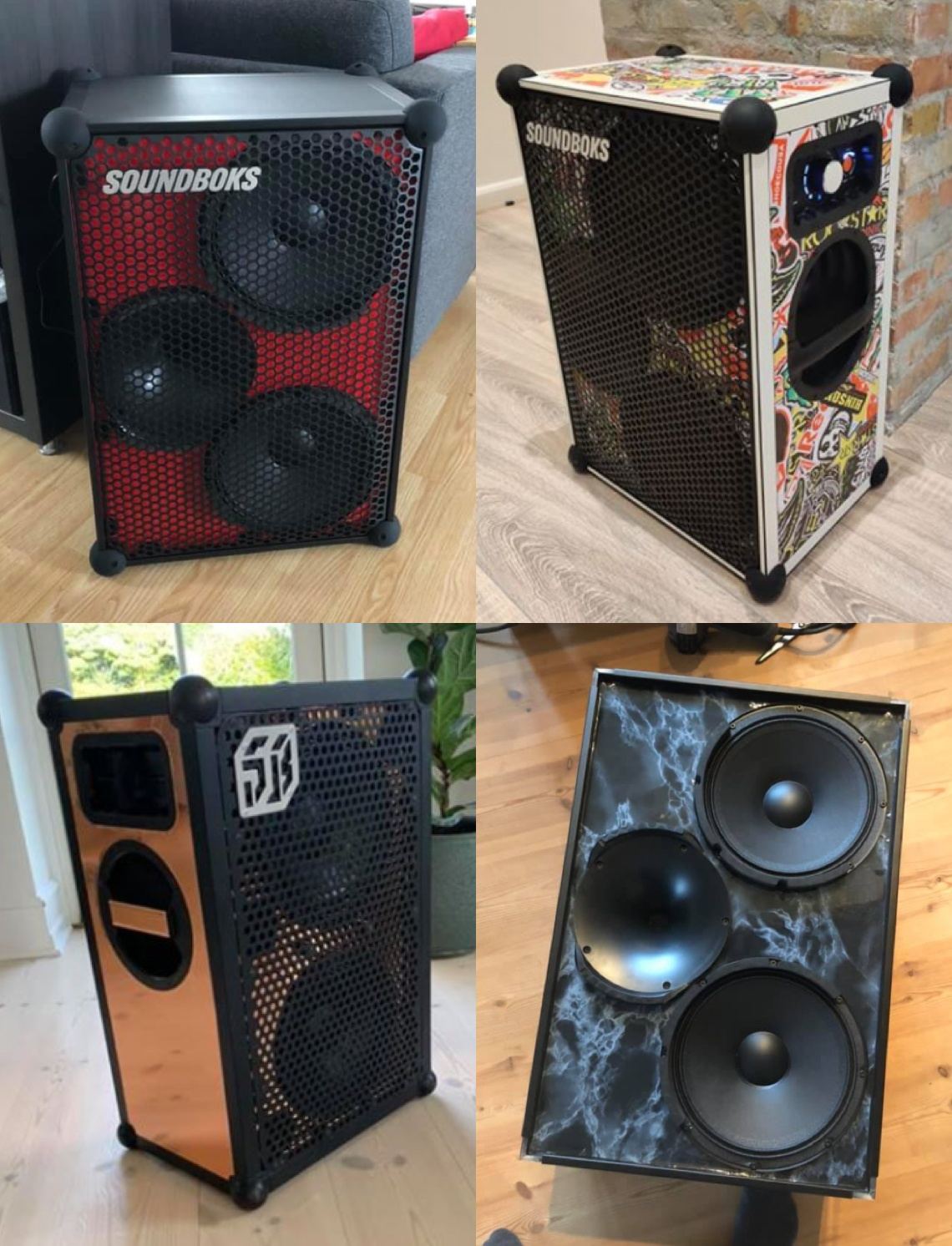 collage of SOUNDBOKS speakers customized by the community