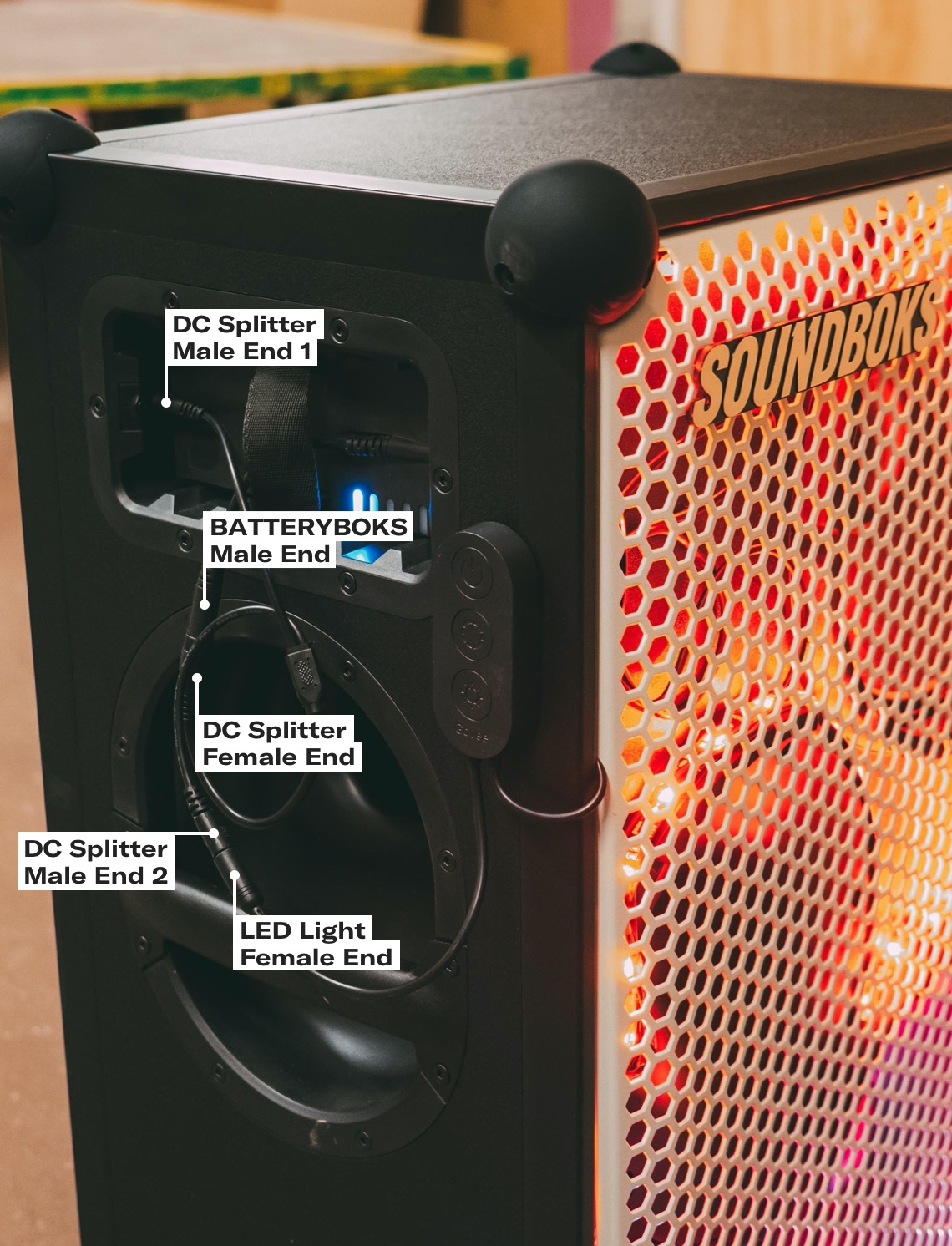 Colored LED Lights on the SOUNDBOKS bluetooth speaker