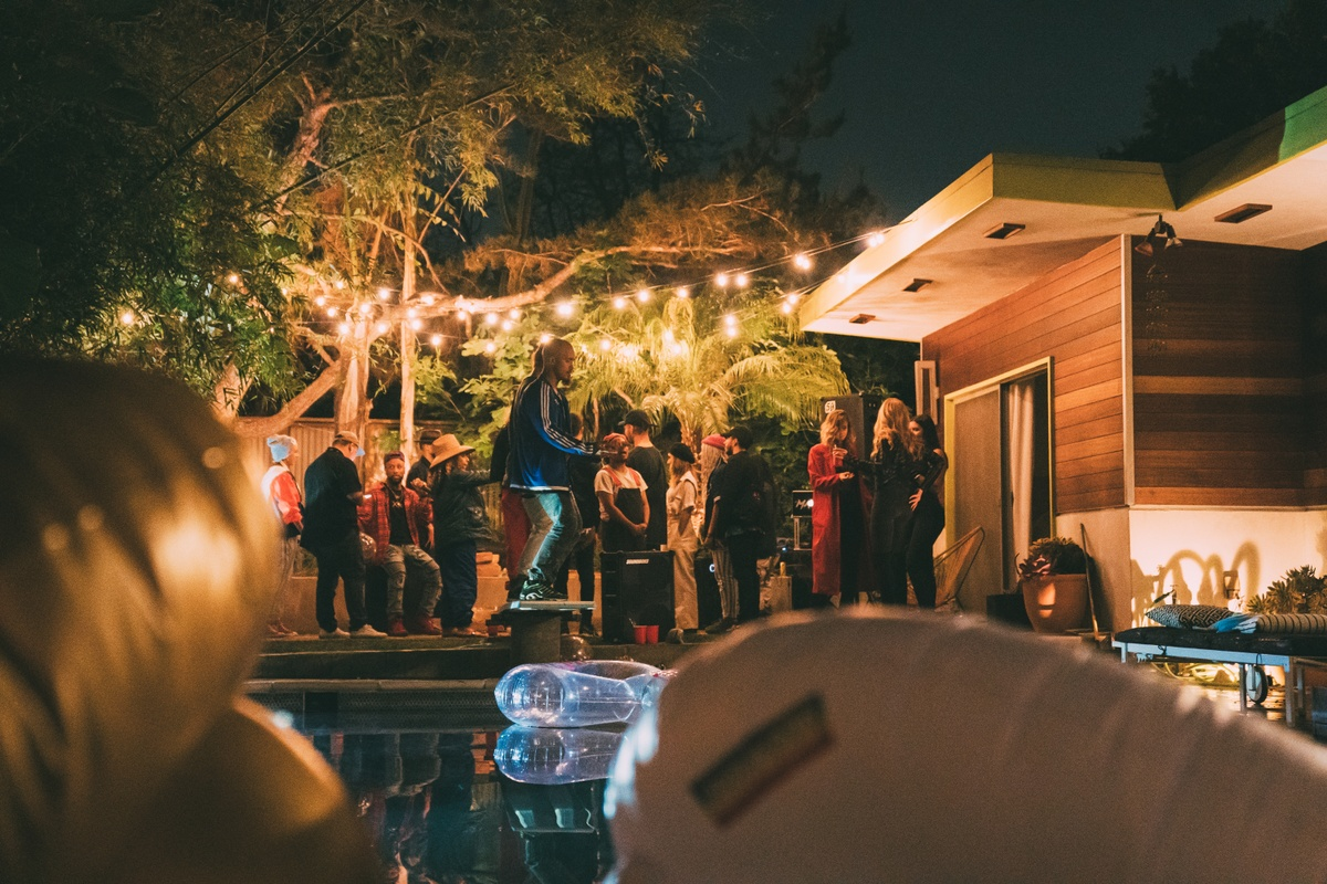 party outside with fairy lights and a SOUNDBOKS