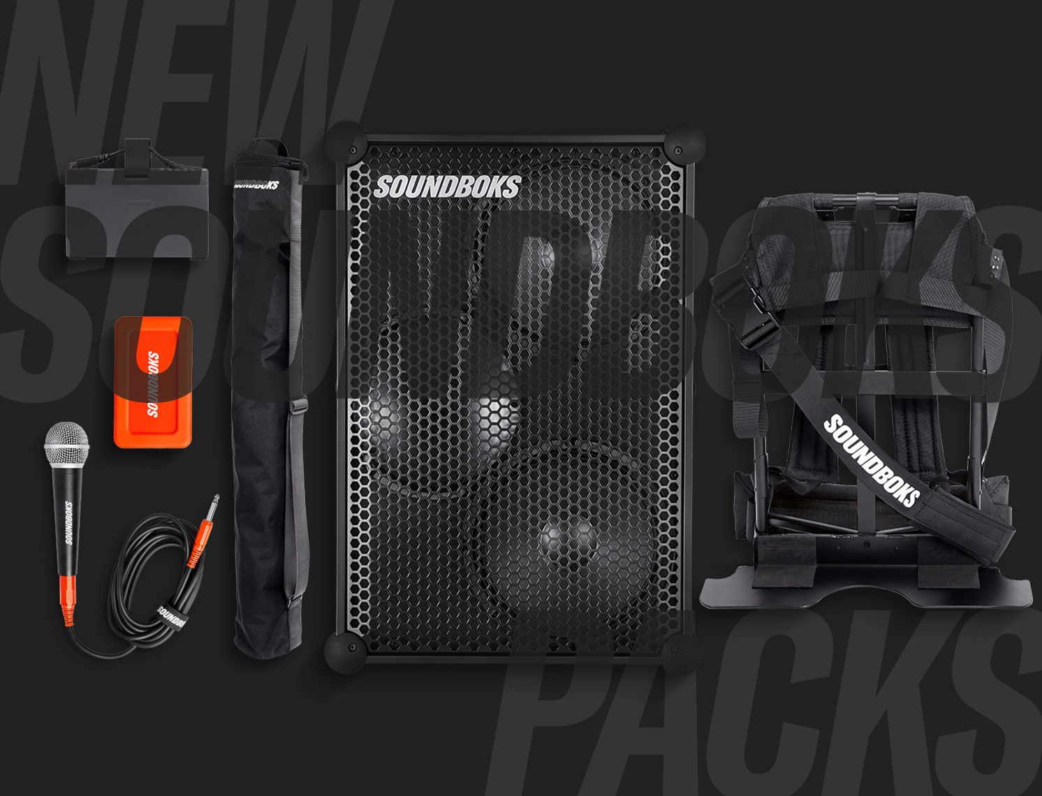 SOUNDBOKS speaker with battery power bank backpack and microphone