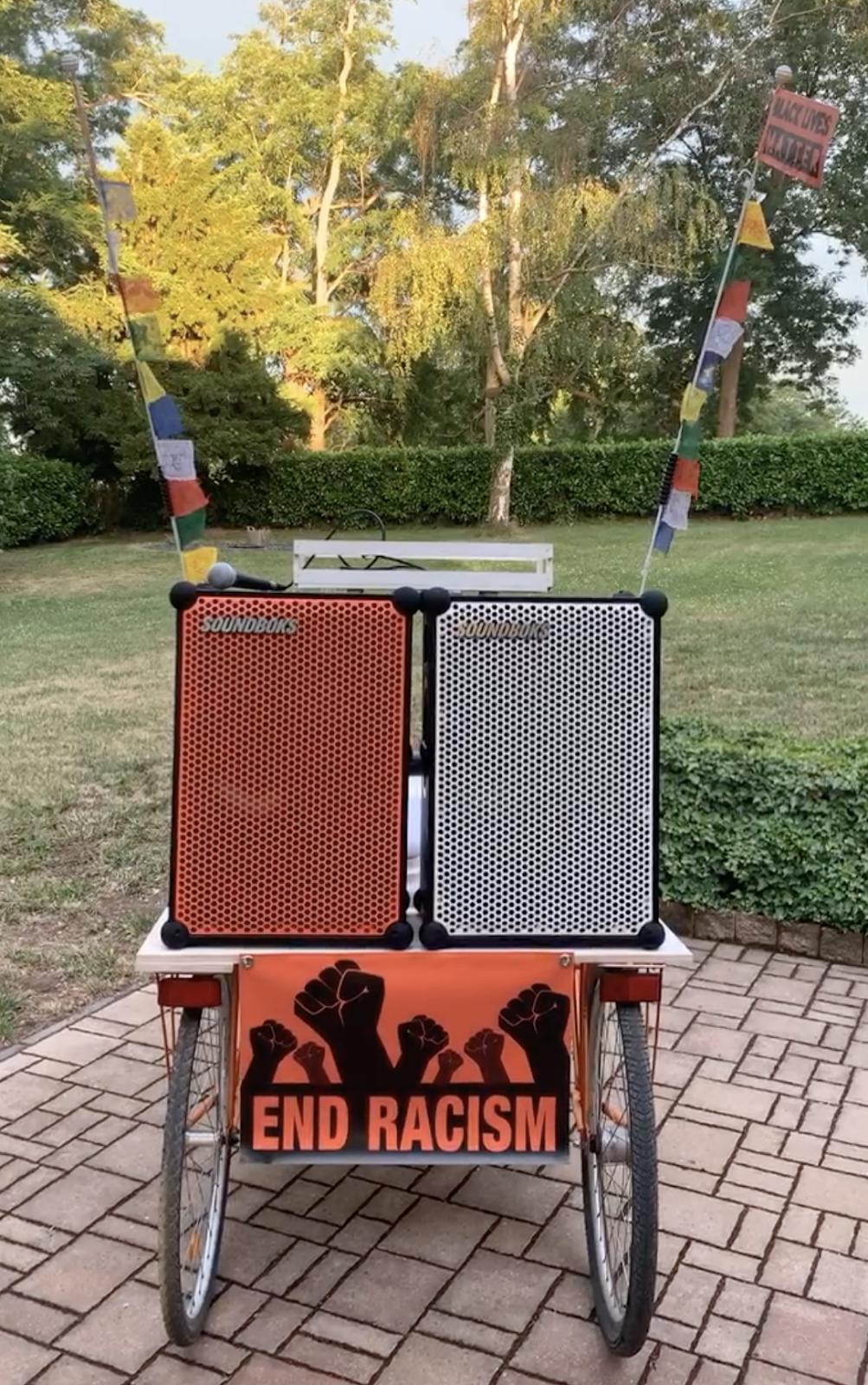 2 SOUNDBOKS speakers on a Rickshaw