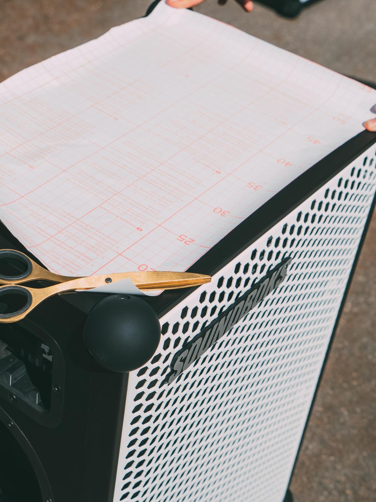 customizing the SOUNDBOKS with white foil