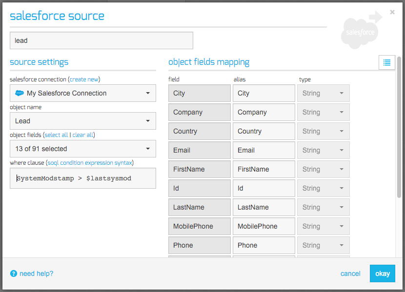 Salesforce source component