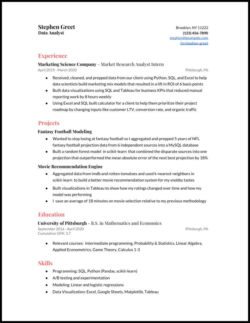 5 Data Analyst Resume Examples For 2020