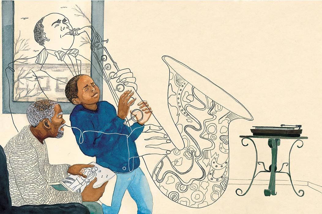 Illustration from children's book Bird by Shadra Strickland