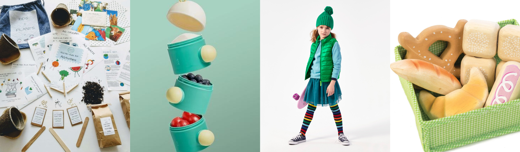 row of gardening kid, green snack container, girl wearing green vest and tulle skirt, wooden bread in green basket