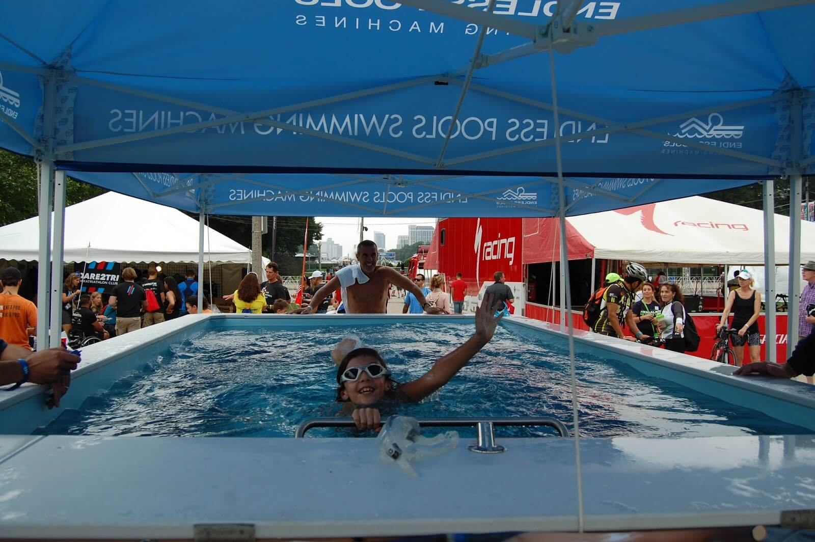 A young girl enjoys the High Performance Endless Pool at the ITU World Triathlon Grand Final Chicago