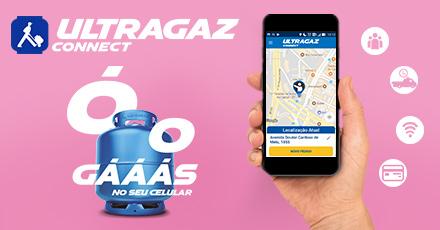 """Ilustração com fundo rosa e foto de uma mão segurando o celular logado no app Connect, da Ultragaz. Envolto ao celular, ícones como tablet, wi-fi, entre outros. No canto direito, o escrito """"Ó o gás"""" acima de um botijão azul da ultragaz."""
