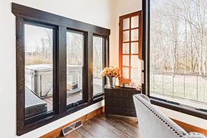 interior of home with dark ebony fiberglass casement windows