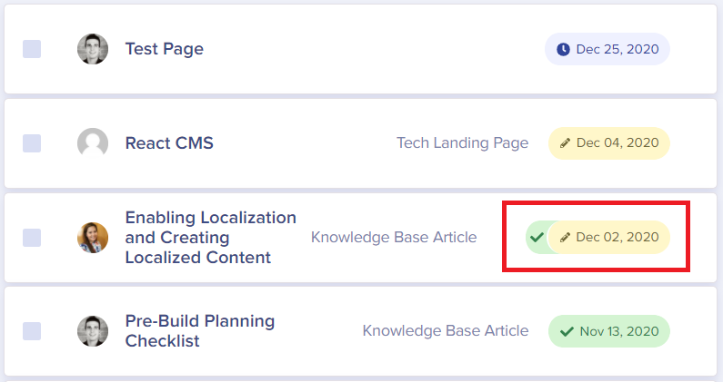 Screenshot showing ButterCMS page versioning interface