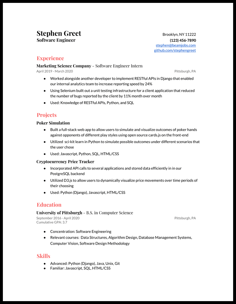 Software Engineer Resume Examples And Guide For 2020