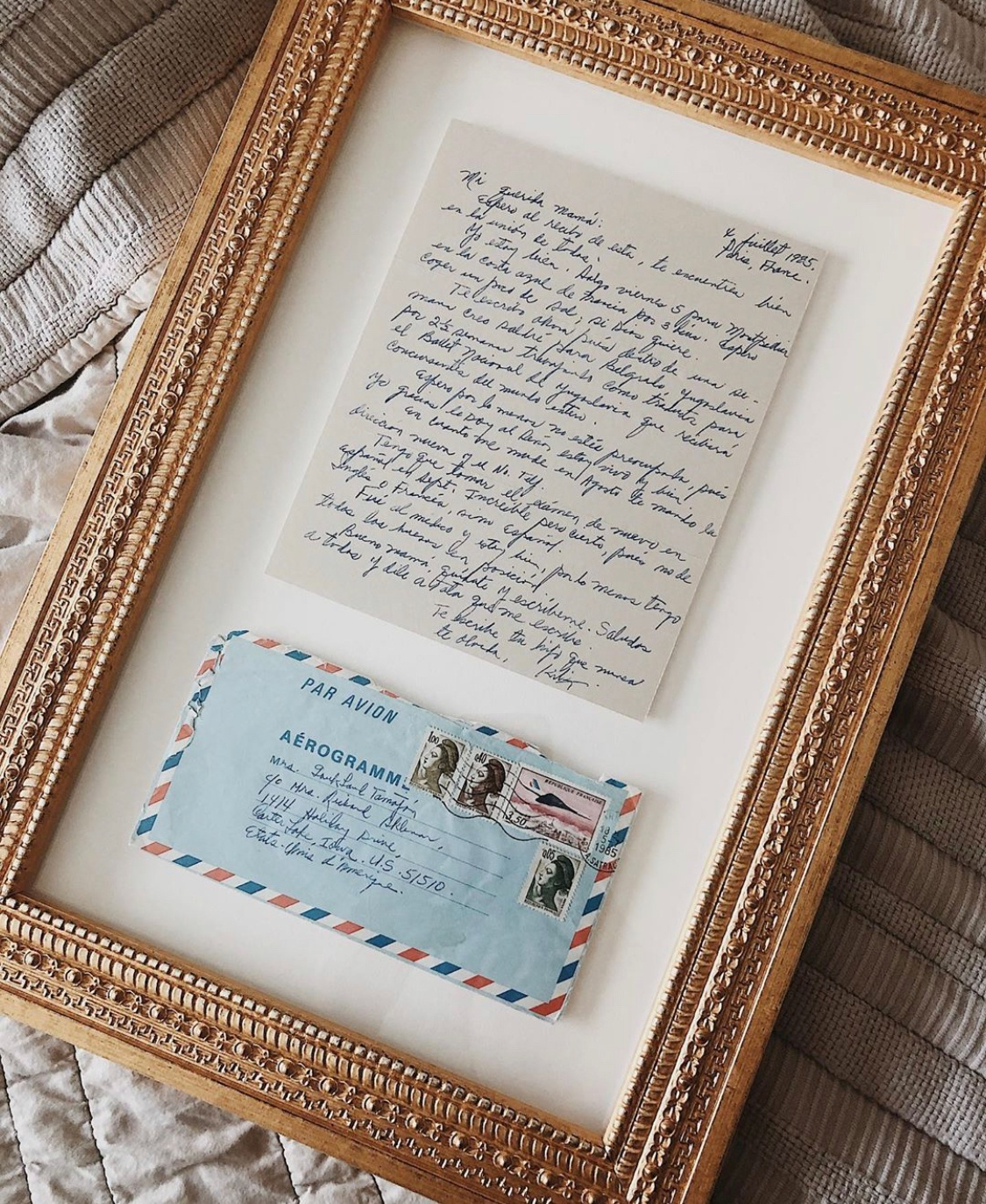 vintage postal letters in gold archive frame