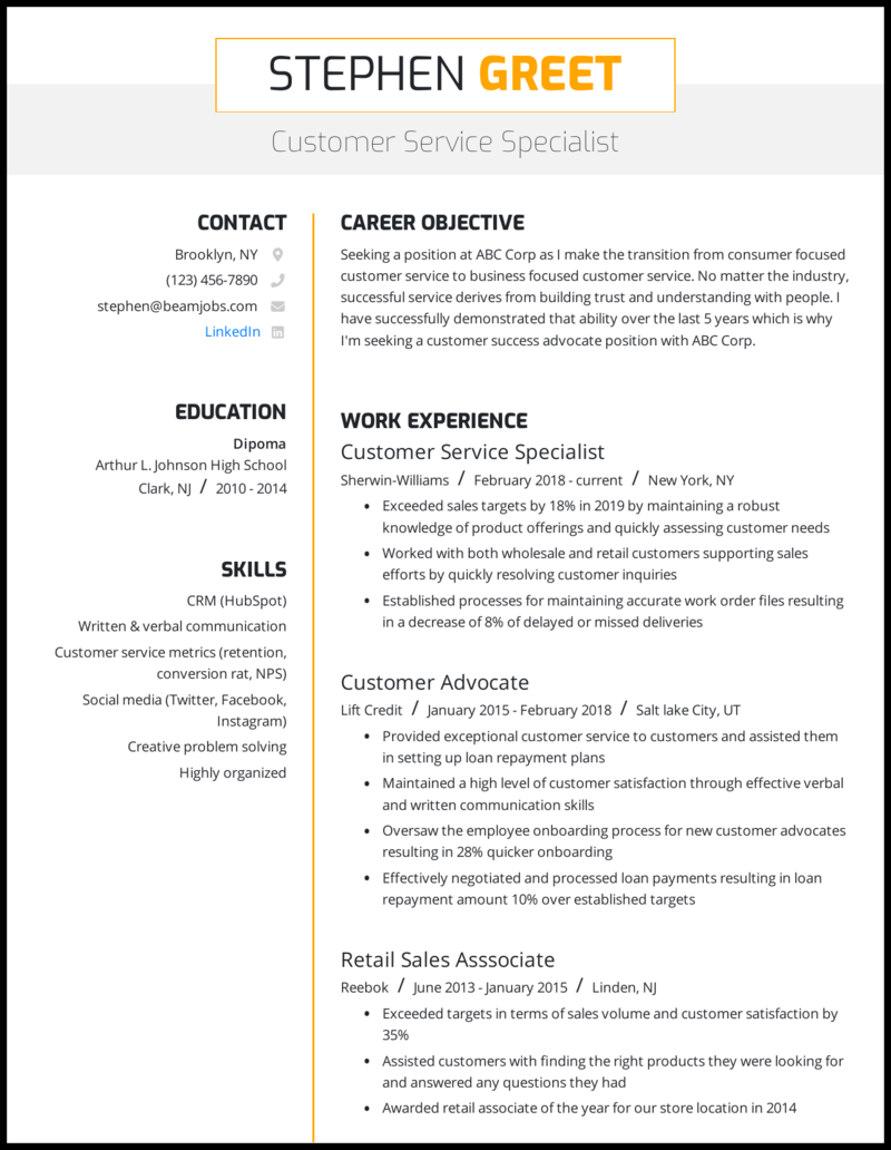 6 Customer Service Resume Examples For 6