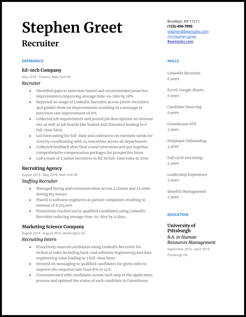 Recruitment sample resume college papers proofing