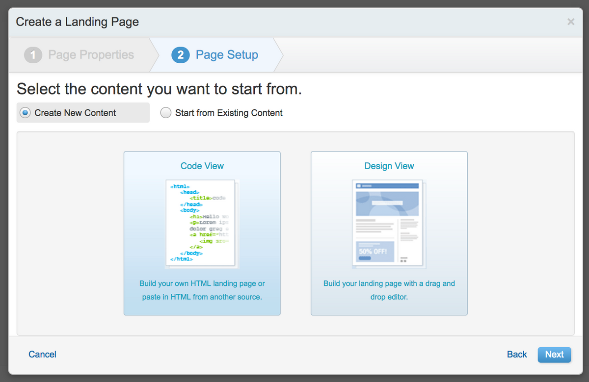 Create Landing Page - Step 2