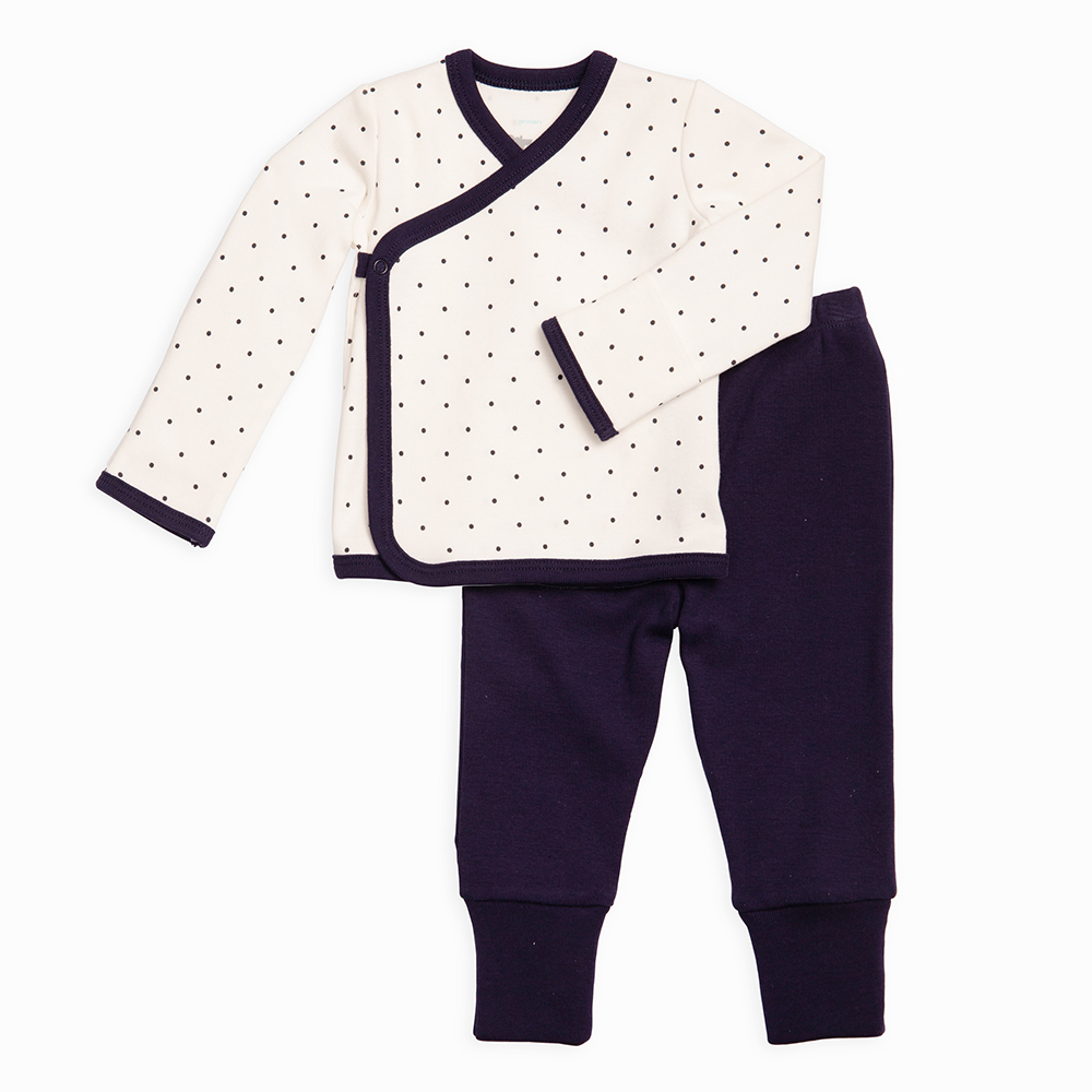 side snap kimono wrap top and convertible fold over footie pant outfit for baby from Primary