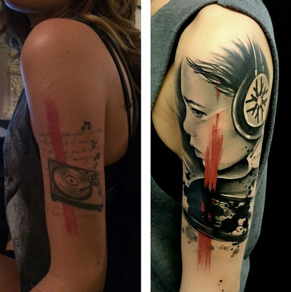 Portrait cover up sleeve tattoo - trash polka