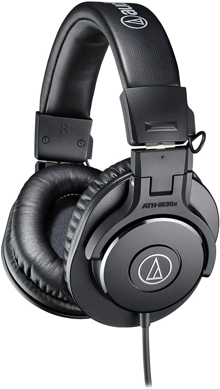 Audio Technica ATX-M30x headphones for audiobook playback monitoring