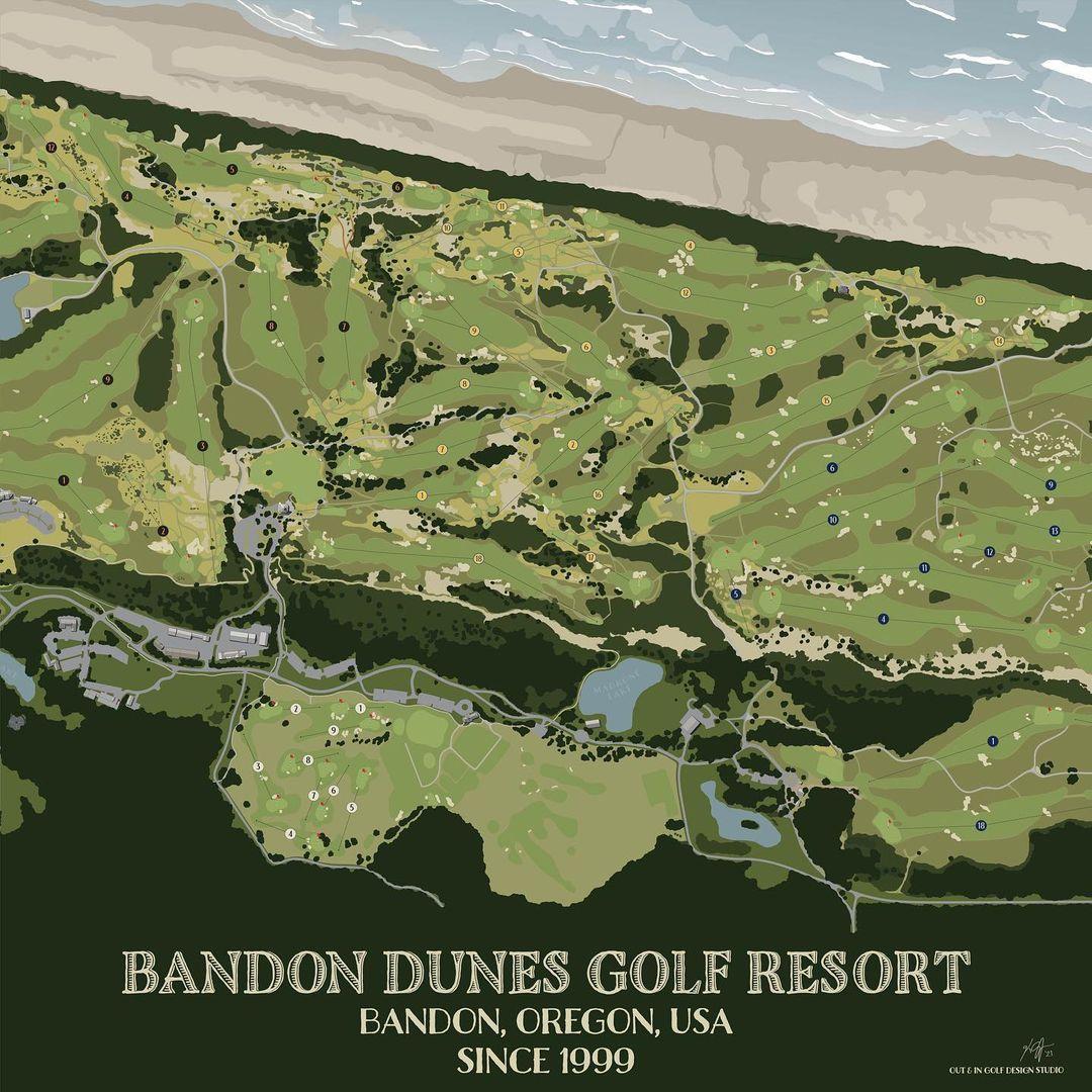 golf course map design of bandon dunes
