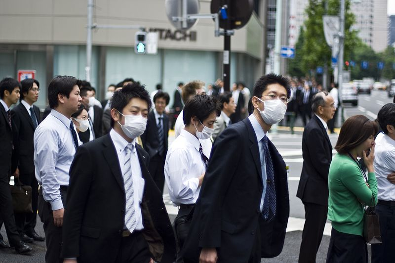 Residents in Japan wearing masks from pollution