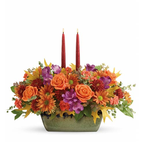 Orange roses centerpiece best selling Thanksgiving flowers