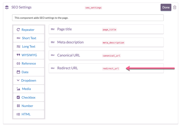 Screenshot demonstrating the user interface for configuring a redirect url