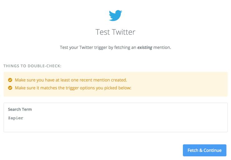 Zapier Test Twitter social automation