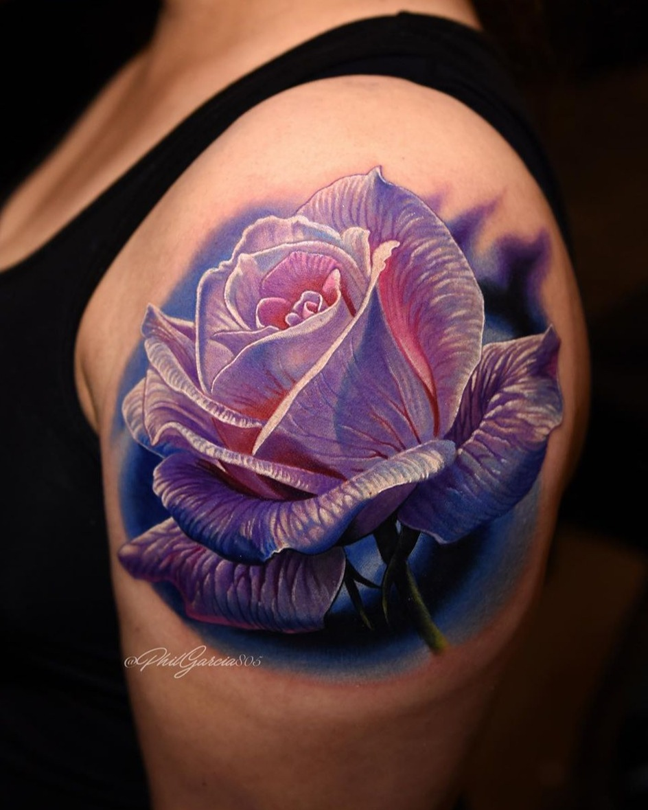 lavender rose tattoo