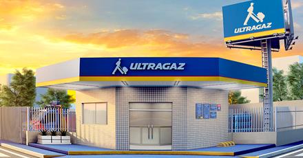 Ilustração de uma revenda Ultragaz onde as paredes externas são de azulejos brancos, a testeira da fachada com logo ultragaz e nas cores azul, vermelha e amarela e ao fundo, um céu bastante alaranjado.