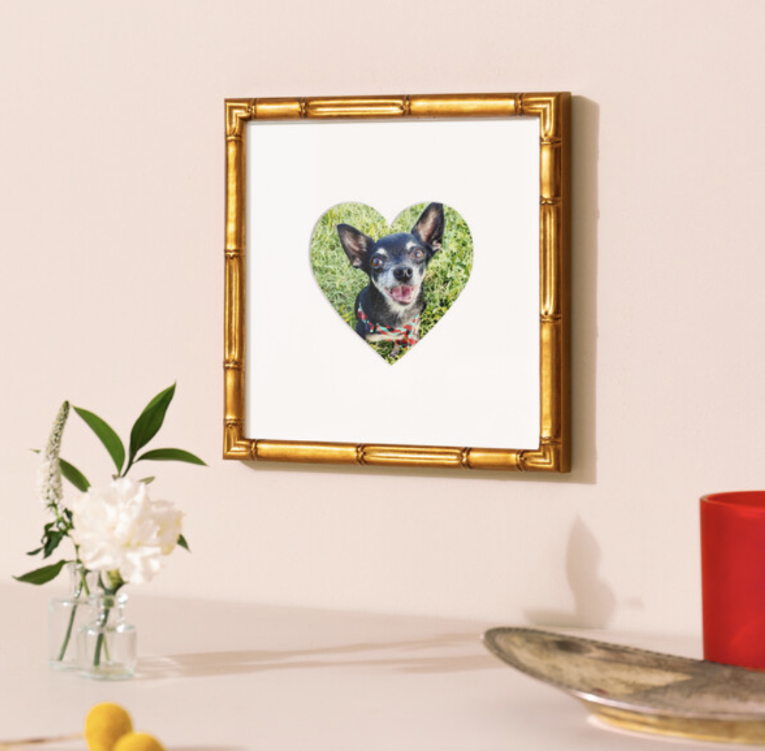 gold frame with heart shaped mat