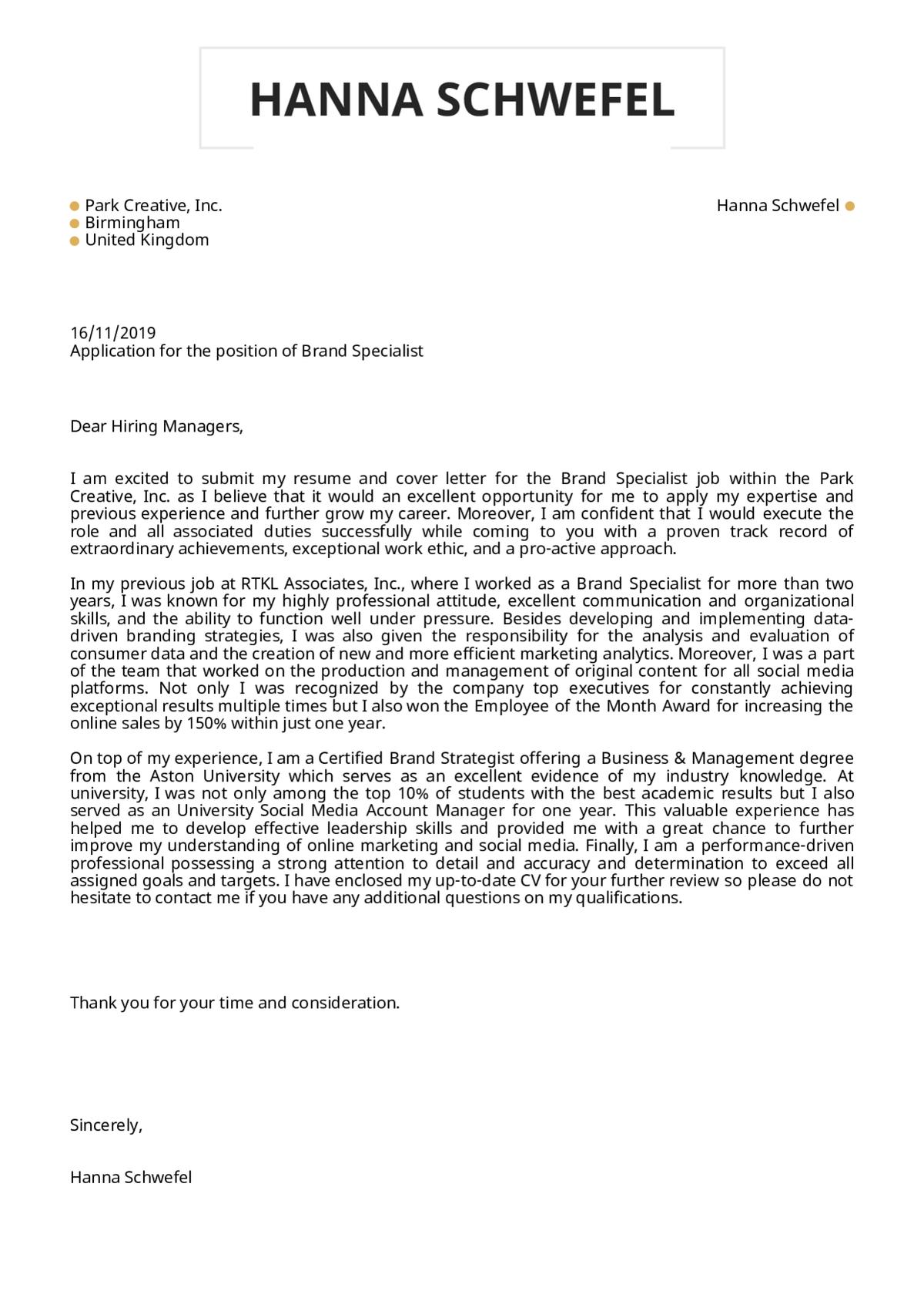 Cover letter for UK job