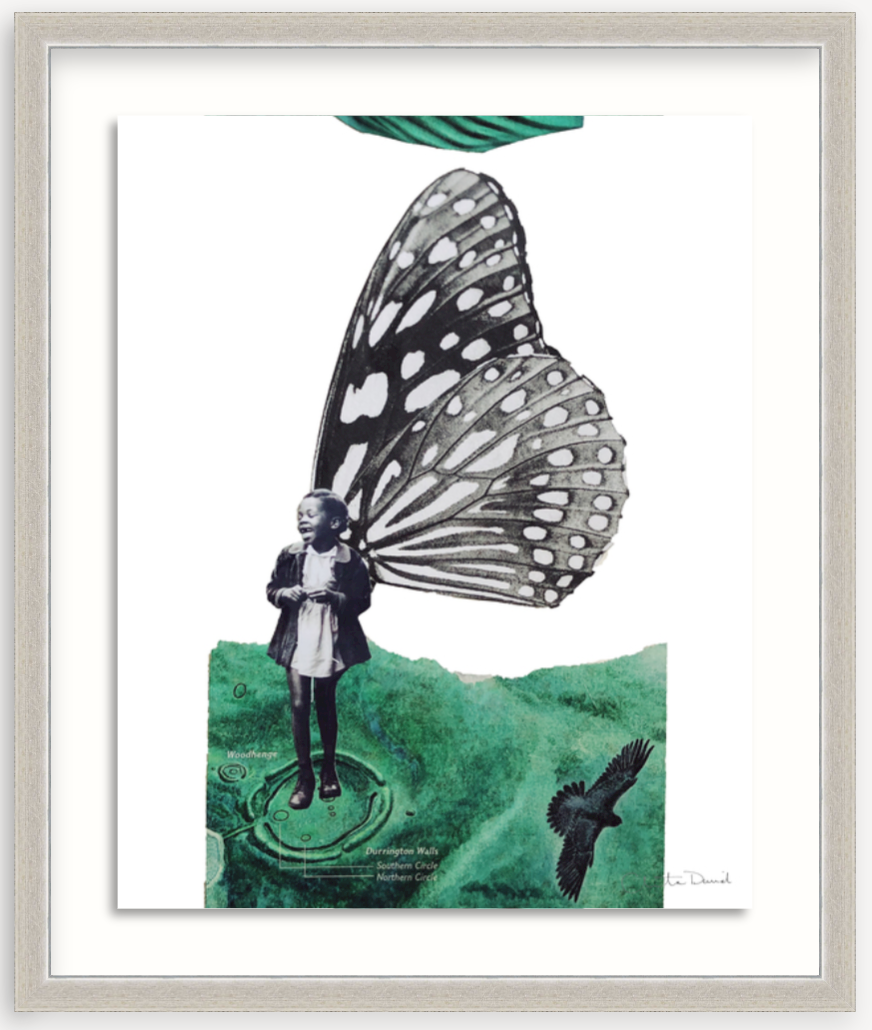 collage art print in silver frame