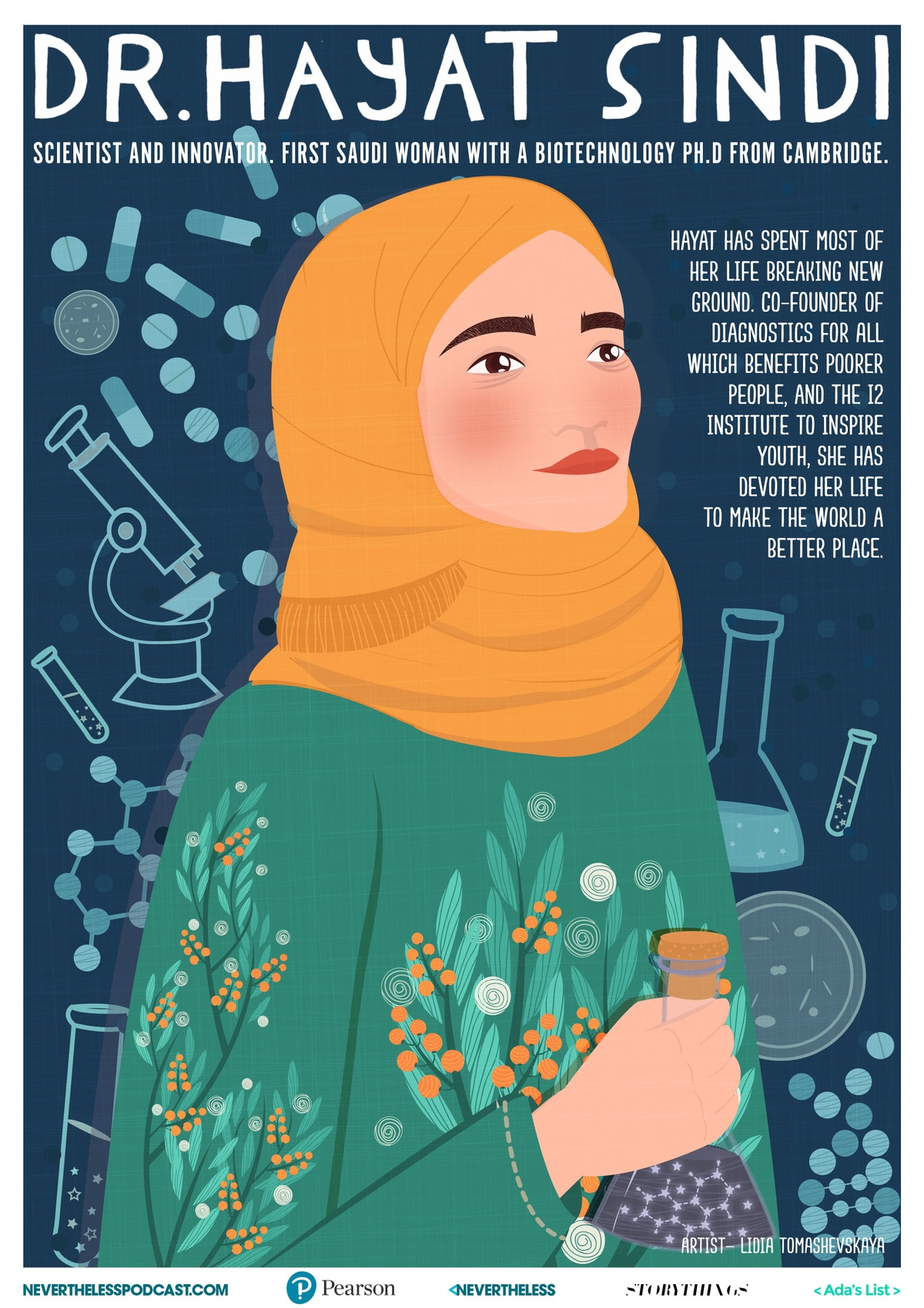 illustrated poster of Dr. Hayat Sindi by Lidia Tomashevskaya