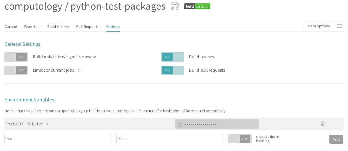 add packagecloud token environment variable