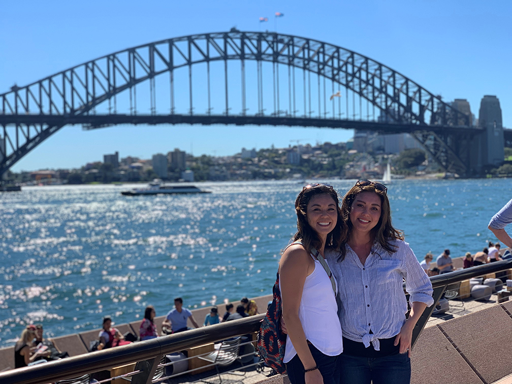 photo of two women in Sydney Harbor