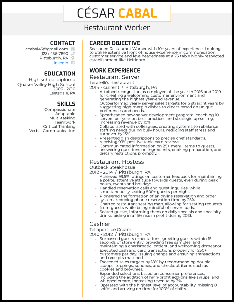 Restaurant resume with 10+ years of experience