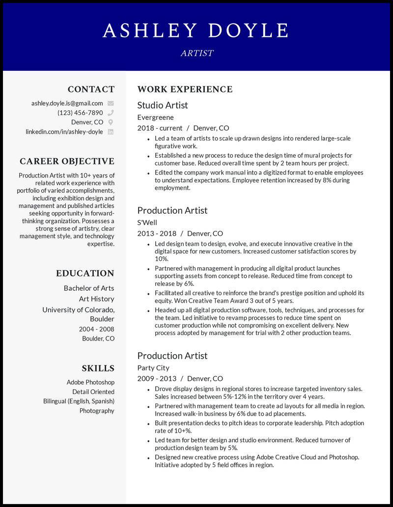 Artist resume with 10+ years of experience