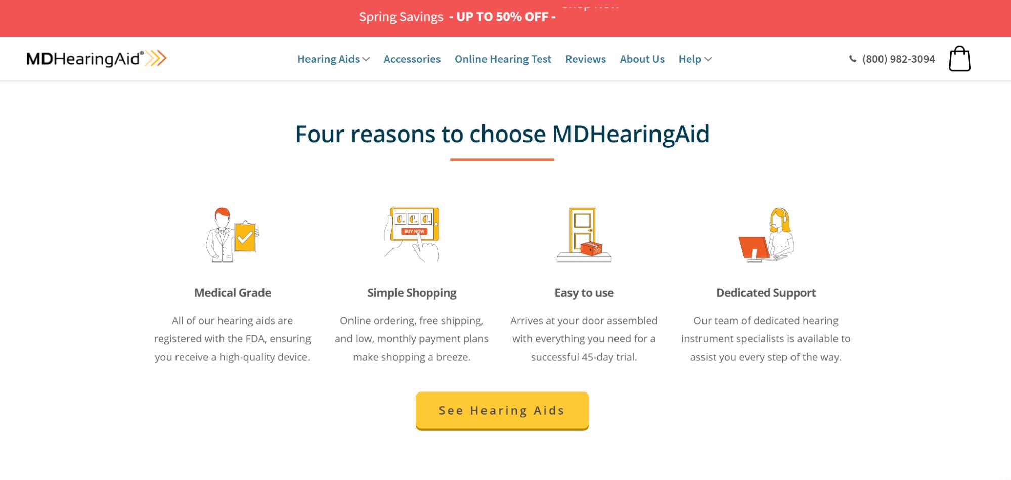 MDHearingAid website desktop view