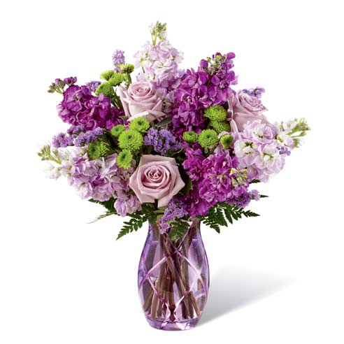 Purple Easter flowers delivery purple rose and stock flowers bouquet