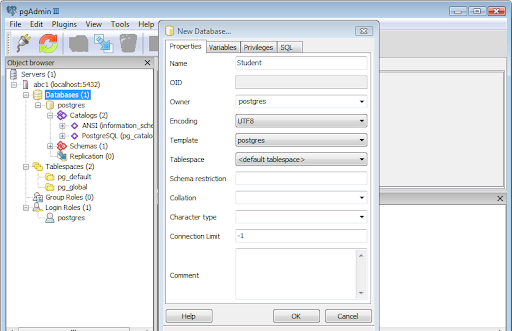 pgAdmin showing a PostgreSQL table