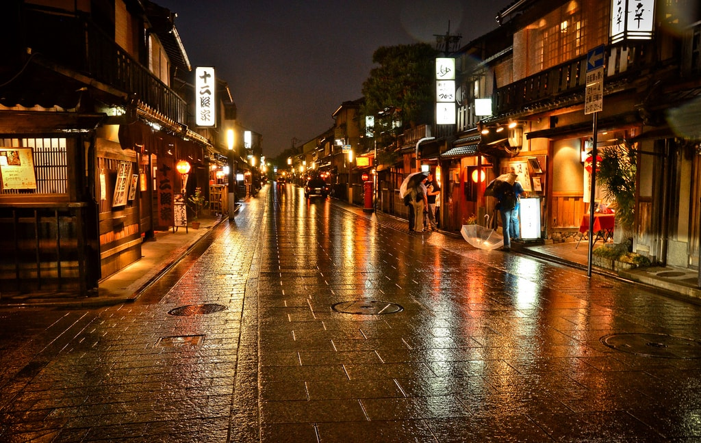 Lights in streets of Kyoto Japan