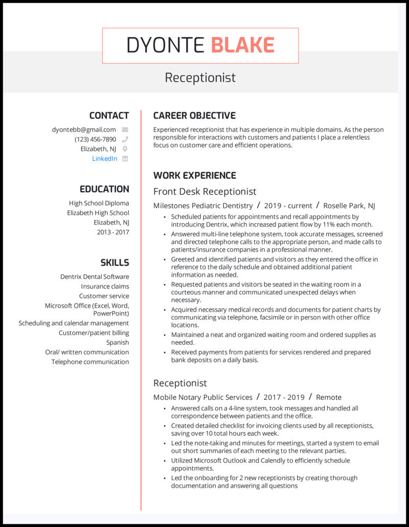 Receptionist resume example with 4+ years experience
