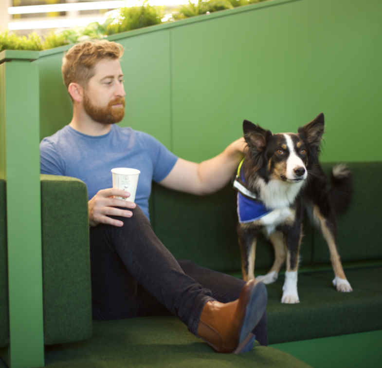 huckletree-west-breakout-space-man-dog