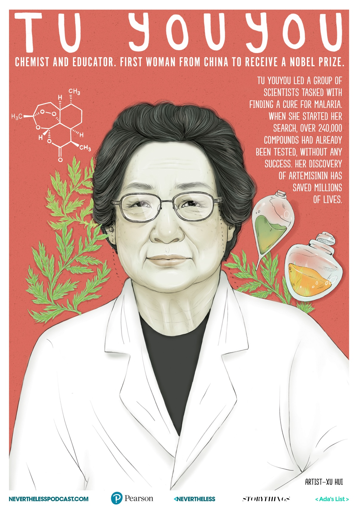 illustrated poster of Tu Youyou by Xu Hui