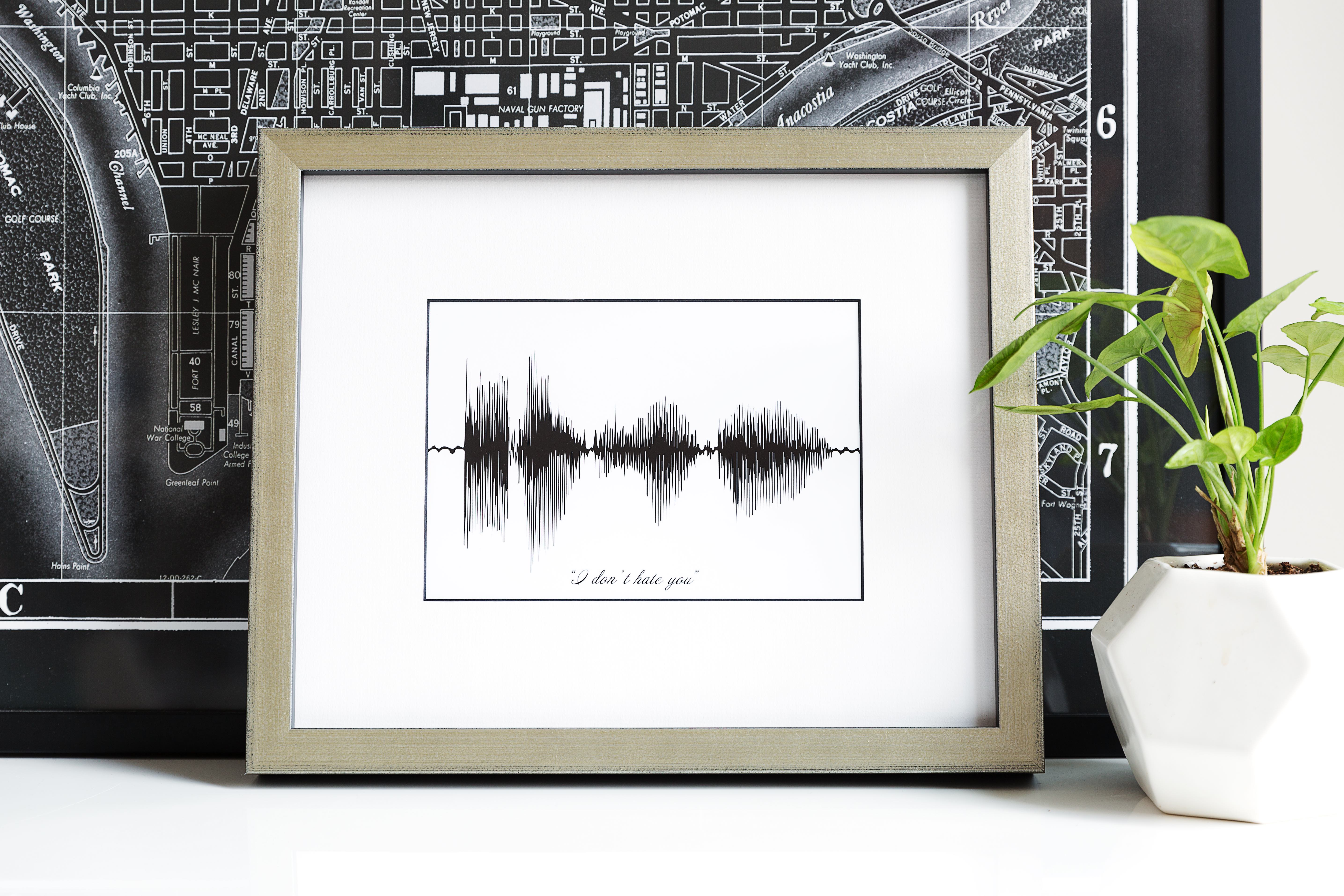 sound wave print in metal frame